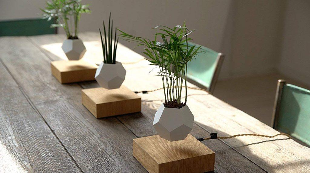 levitación de macetas para decoración.